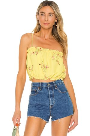 LINE & DOT Hailey Floral Print Tank Top in Yellow.