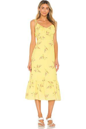 LINE & DOT Hailey Floral Print Midi Dress in Yellow.