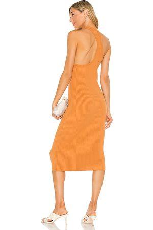 LINE & DOT Lori Asymmetrical Ribbed Midi Dress in .