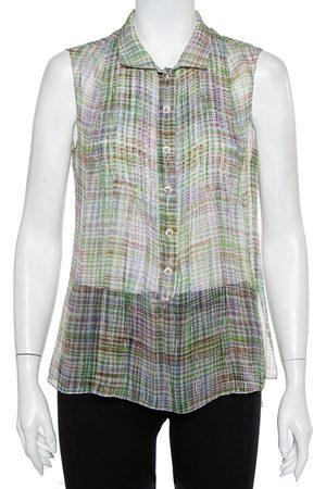 CHANEL Lurex Silk Sleeveless Shirt M
