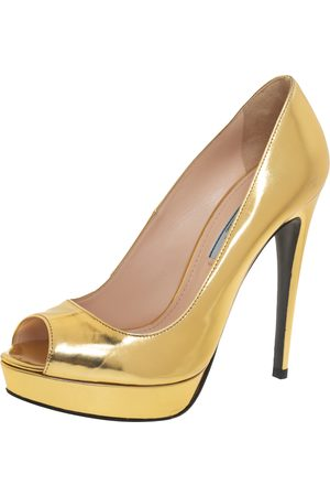 Prada Women Platform Pumps - Leather Peep Toe Platform Pumps Size 37.5