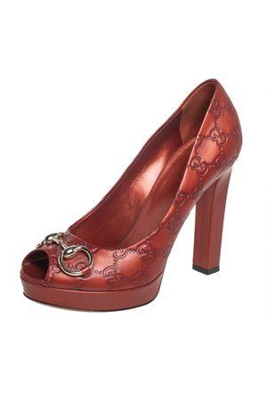 Gucci Ssima Leather Horsebit Peep Toe Platform Pumps Size 38.5