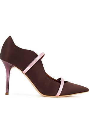 MALONE SOULIERS Woman Maureen 85 Metallic Leather-trimmed Satin Pumps Chocolate Size 36
