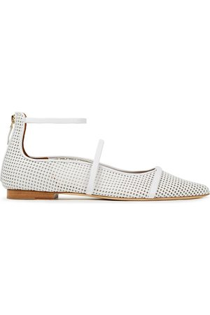 MALONE SOULIERS Woman Robyn Perforated Leather Point-toe Flats Size 37