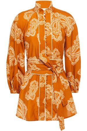 ZIMMERMANN Woman Belted Silk Blouse Tan Size 0