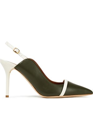 MALONE SOULIERS Woman Marion 85 Two-tone Leather Slingback Pumps Dark Size 37