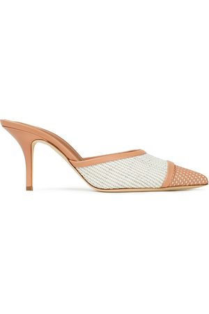 MALONE SOULIERS Woman Harriet 70 Perforated Leather And Woven Raffia Mules Peach Size 37