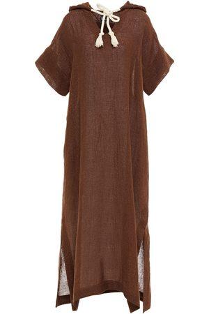 Lisa Marie Fernandez Woman Metallic Linen-blend Gauze Hooded Kaftan Chocolate Size 0