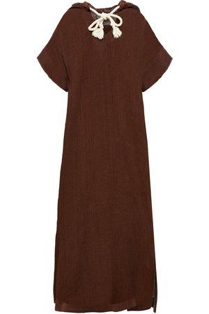 Lisa Marie Fernandez Woman Linen-blend Gauze Hooded Kaftan Chocolate Size 1