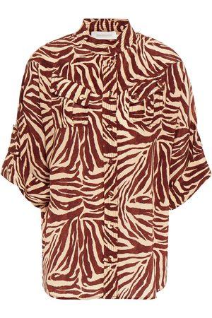 ZIMMERMANN Woman Topstitched Silk Crepe De Chine Shirt Brick Size 0