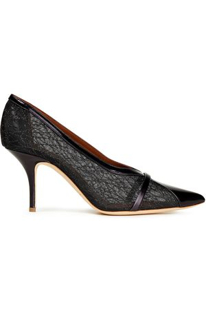 MALONE SOULIERS Woman Brook 70 Leather-trimmed Glittered Mesh Pumps Size 36