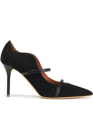 MALONE SOULIERS Woman Maureen 85 Leather-trimmed Ribbed Suede Pumps Size 36