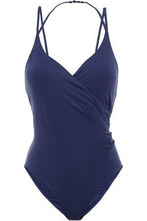 SKIN Women Swimsuits - Woman Wrap-effect Halterneck Swimsuit Navy Size L