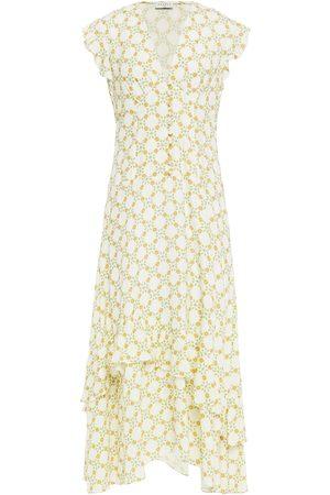 Sandro Women Printed Dresses - Woman Mally Ruffled Floral-print Jacquard Midi Dress Ivory Size 34