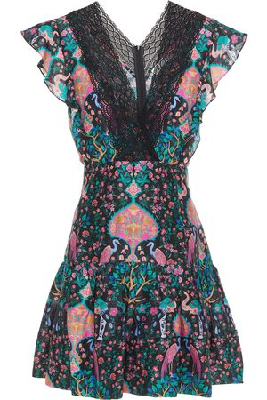 Sandro Women Party Dresses - Woman Iveane Lace-trimmed Printed Linen And Silk-blend Mini Dress Size 34