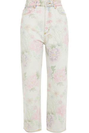 Sandro Women High Waisted - Woman Cropped Floral-print High-rise Straight-leg Jeans Light Size 36