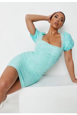 Missguided Mint Mesh Ruched Puff Sleeve Mini Dress