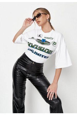 Missguided Alissa Janay Edit White Varsity Graphic Corset T Shirt