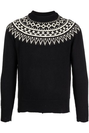 Saint Laurent Distressed Fair Isle knitted sweater