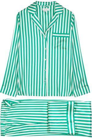 YOLKE Striped stretch-silk pyjama set