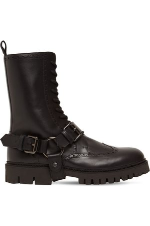 Moschino Combat Leather Lace-up Boots