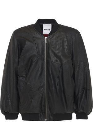 KOCHÉ Men Leather Jackets - Faux Leather Padded Bomber Jacket