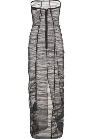 MÔNOT Sheer Nylon Tulle Long Dress