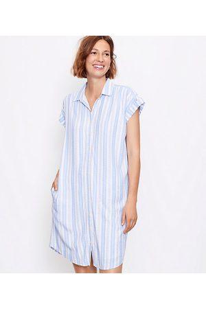 LOFT Women Casual Dresses - Striped Dolman Pocket Shirtdress