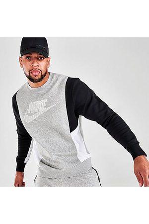 Nike Men's Sportswear Hybrid Fleece Crewneck Sweatshirt in Grey/Dark Grey Heather Size Small Cotton/Polyester/Fleece
