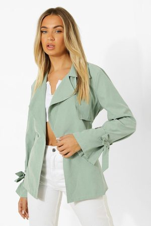 Boohoo Womens Tie Cuff Detail Belted Trench Coat - - 4