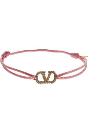 VALENTINO GARAVANI Crystal V Logo Slim Bracelet