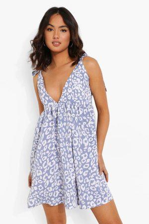 Boohoo Womens Leoard Print Strappy Plunge Swing Dress - - 4