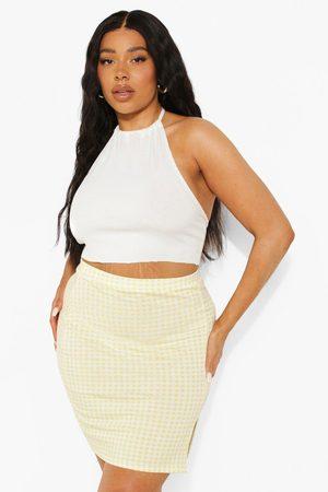 Boohoo Women Printed Skirts - Womens Plus Gingham Print Front Split Mini Skirt - - 12