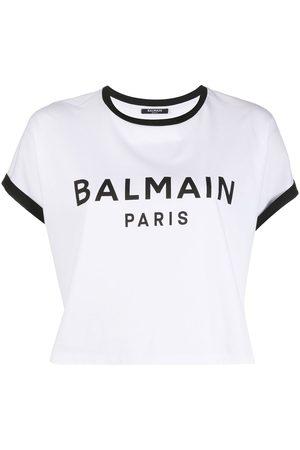Balmain Flocked logo cropped T-shirt