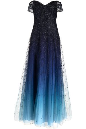 Marchesa Notte Off-shoulder beaded gown