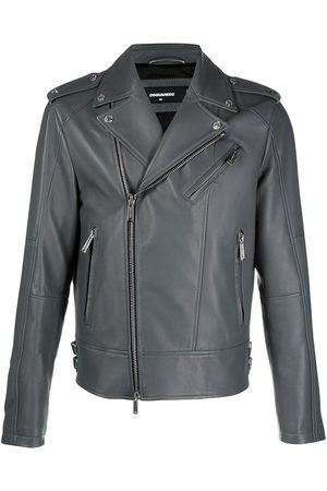 Dsquared2 Men Leather Jackets - Zip-detail biker jacket - Grey