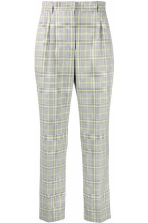 Manuel Ritz Darted check-pattern trousers