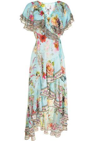 Camilla Floral-print ruffled silk dress