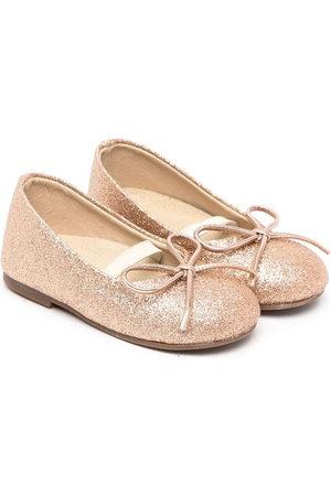 Babywalker Glitter-embellished leather ballerinas