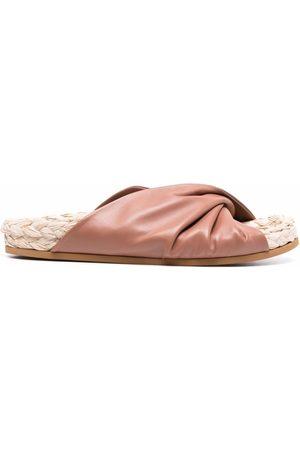 L'Autre Chose Women Sandals - Gathered leather raffia sandals - Neutrals