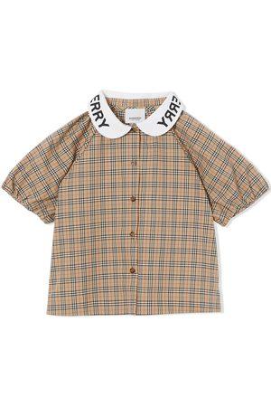 Burberry Kids Logo-print checked blouse - Neutrals