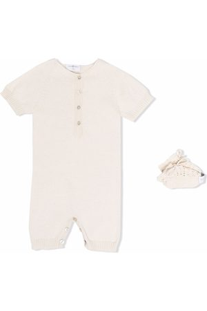 Violeta e Federico Baby Rompers - Button-up knitted romper - Neutrals