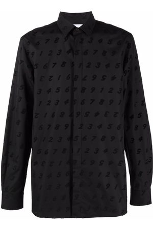 Moschino Number embroidered long-sleeve shirt