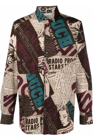 Moschino Newspaper print long-sleeve shirt - Neutrals