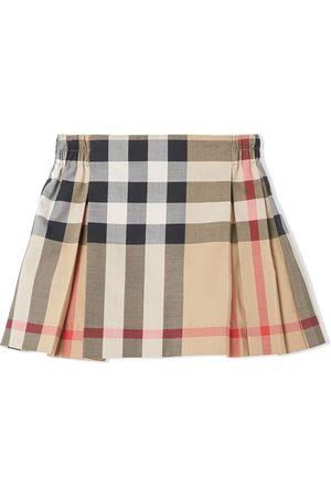Burberry Kids Check-print pleated skirt - Neutrals