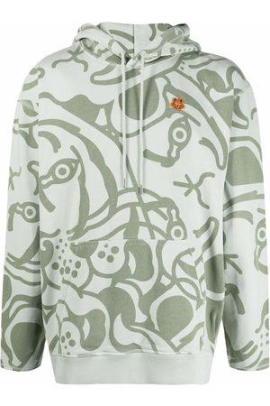 Kenzo Men Hoodies - Abstract-pattern drawstring hoodie