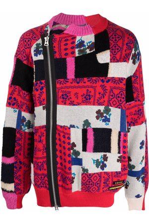 SACAI Men Cardigans - Intarsia patchwork cardigan