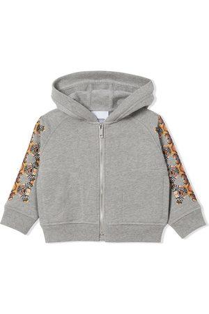Burberry Kids Bear-print zip-fastening hoodie - Grey