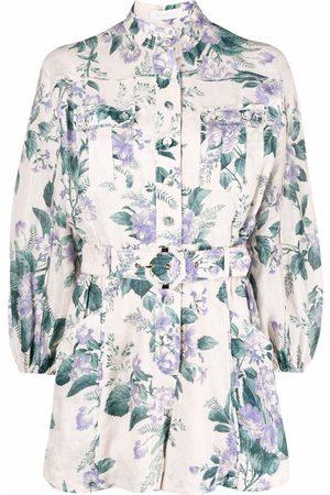 ZIMMERMANN Floral-print belted-waist playsuit - Neutrals
