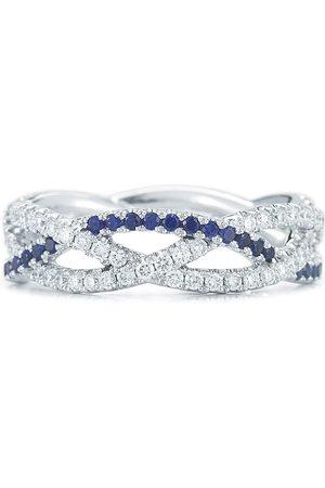 Kwiat Women Rings - 18kt white gold diamond sapphire twist three-strand ring